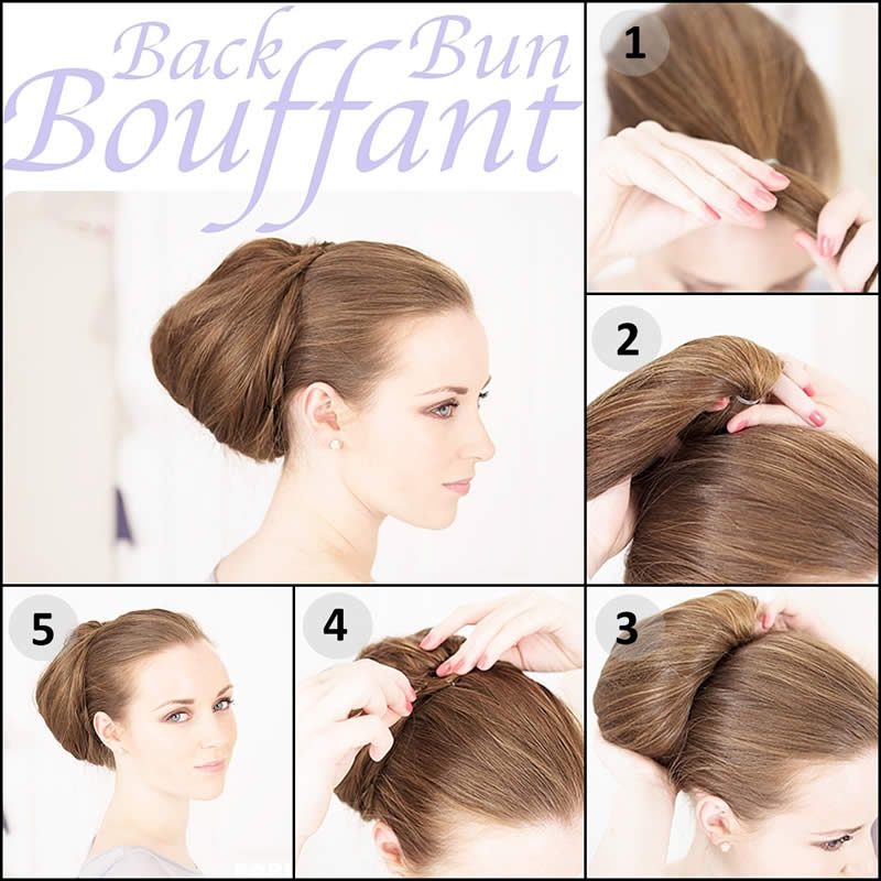 Back Bun Bouffant Formal Hairstyle Tutorial