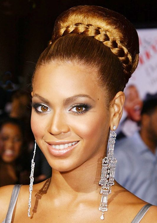 Beyonce High Tight Bun Hairstyle With Braids Careforhair