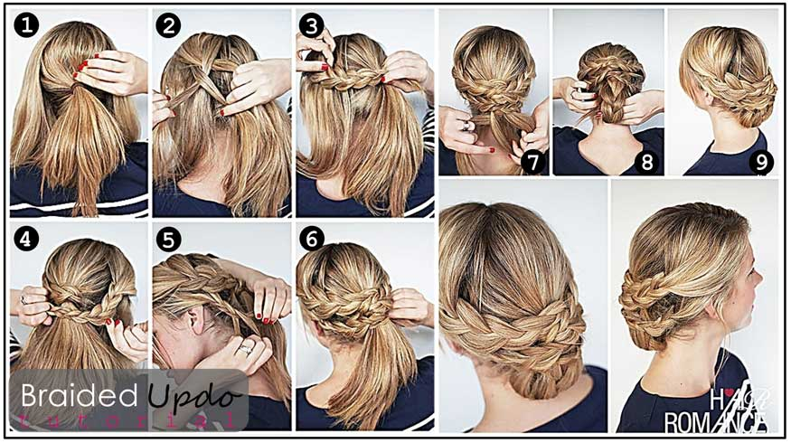 Braided chignon updo hairstyle tutorial