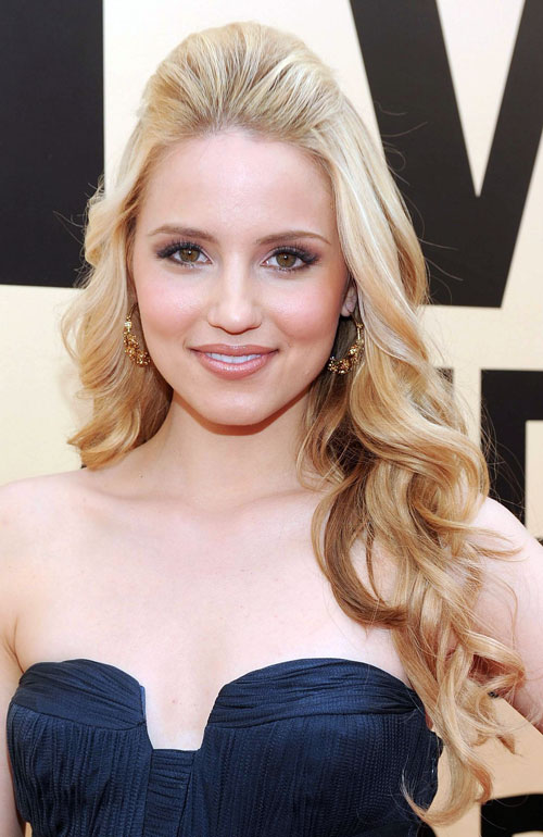 Dianna Agron Half Up Bouffant Curly Prom Hairstyles 2014