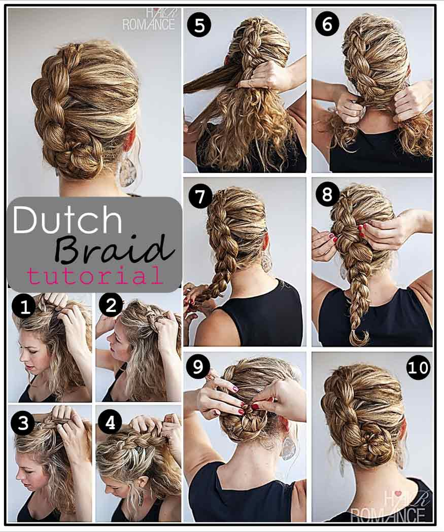 Dutch braid updo hairstyle tutorial