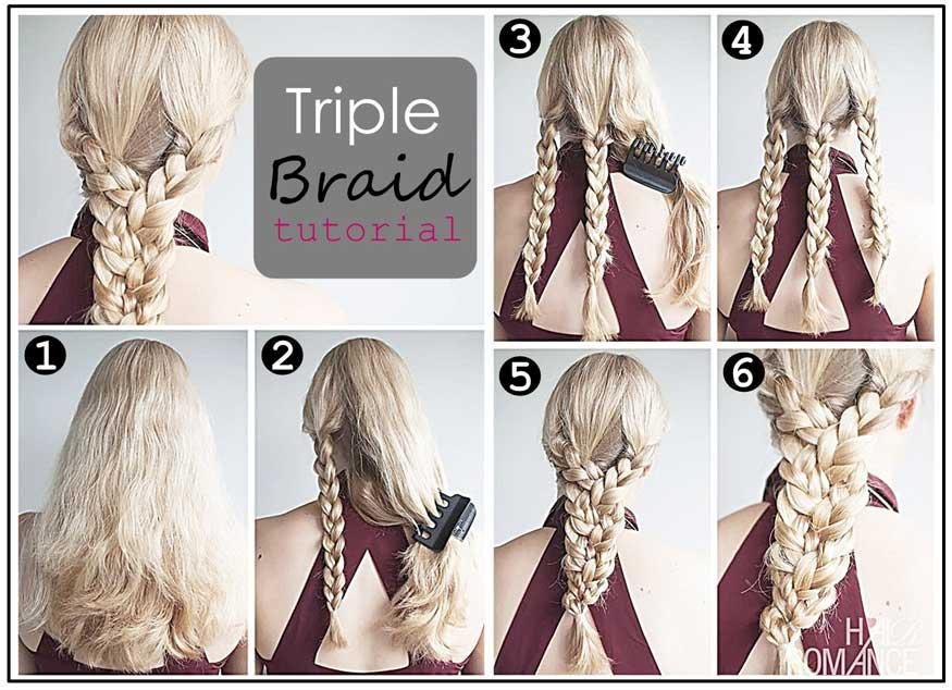 Triple braid ponytail hairstyle tutorial - Careforhair.co.uk ...