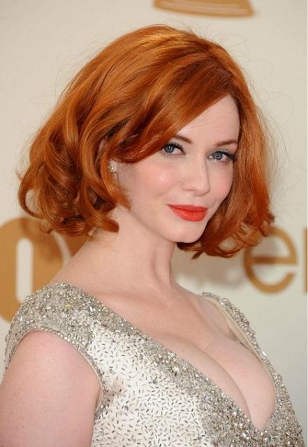 Christina Hendricks Red mid-cut wavy hair