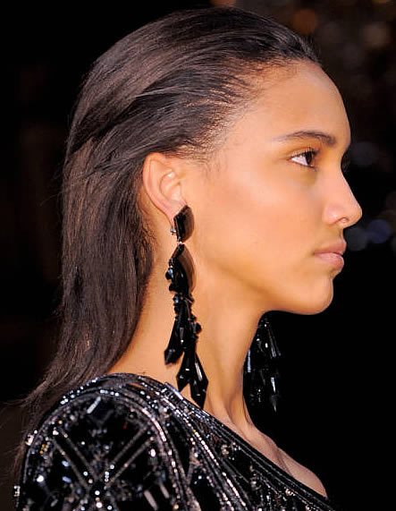 Balmain Brush Back Hairstyle; Olivier Rousteing's Fall 2013 Creation, Elle