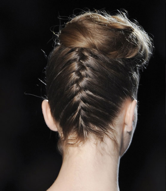 Upside Down Braided Hairstyle; Badgley Mischka