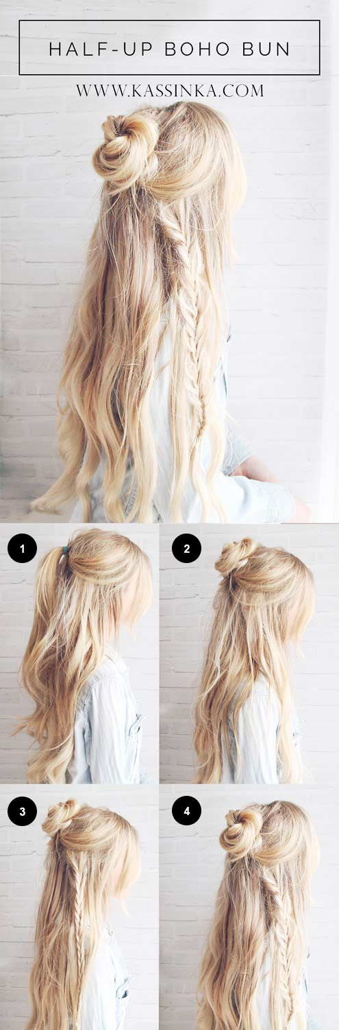 Half-Up Boho Braided Bun