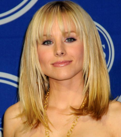 Kristen Bell Medium Length Blonde Hair With Bangs