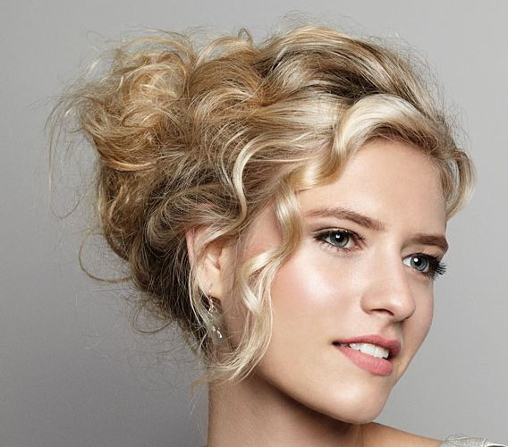 Long Curly Blonde Hair In Bohemian Style Wedding Updo