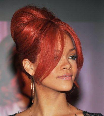 Rihanna Bright Red Vintage Beehive Hairdo Formal Updo Careforhair