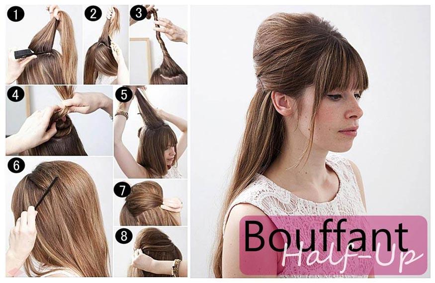 Half Up Bouffant Retro Hairstyle