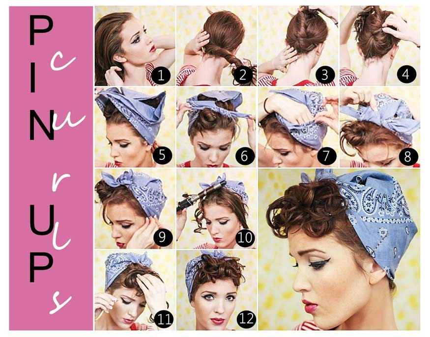 Rosie the Riveter's swanky bandana-tied updo hairstyle