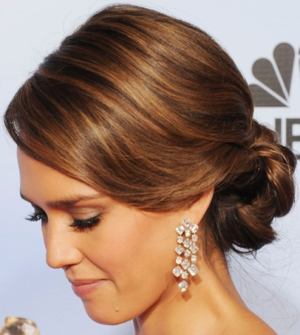 Jessica Alba Brunette Long Hair In Elegant Formal Updo Hairdo Careforhair Co Uk Careforhair Co Uk